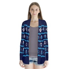 Who Is Outside Ugly Holiday Christmas Blue Background Drape Collar Cardigan
