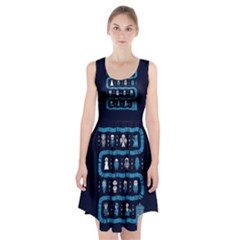 Who Is Outside Ugly Holiday Christmas Blue Background Racerback Midi Dress