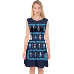Who Is Outside Ugly Holiday Christmas Blue Background Capsleeve Midi Dress