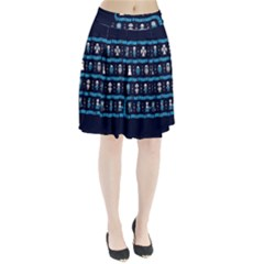Who Is Outside Ugly Holiday Christmas Blue Background Pleated Skirt