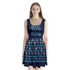 Who Is Outside Ugly Holiday Christmas Blue Background Split Back Mini Dress