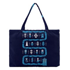 Who Is Outside Ugly Holiday Christmas Blue Background Medium Tote Bag