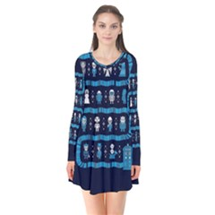 Who Is Outside Ugly Holiday Christmas Blue Background Flare Dress