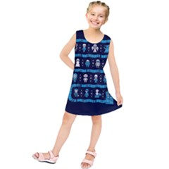 Who Is Outside Ugly Holiday Christmas Blue Background Kids  Tunic Dress