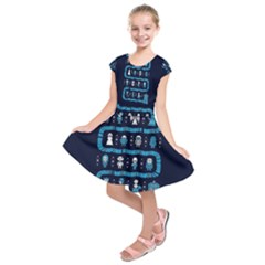 Who Is Outside Ugly Holiday Christmas Blue Background Kids  Short Sleeve Dress