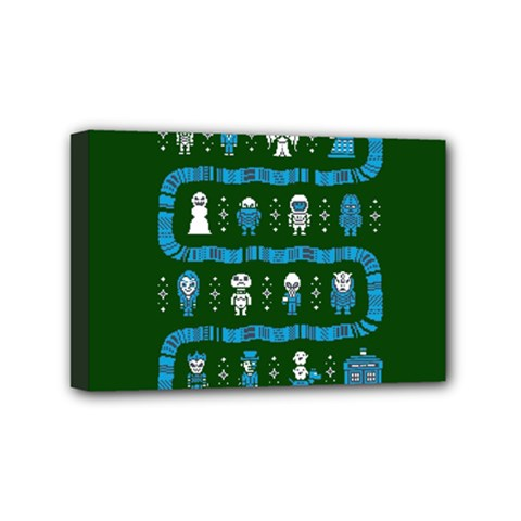 Who Is Outside Ugly Holiday Christmas Green Background Mini Canvas 6  X 4