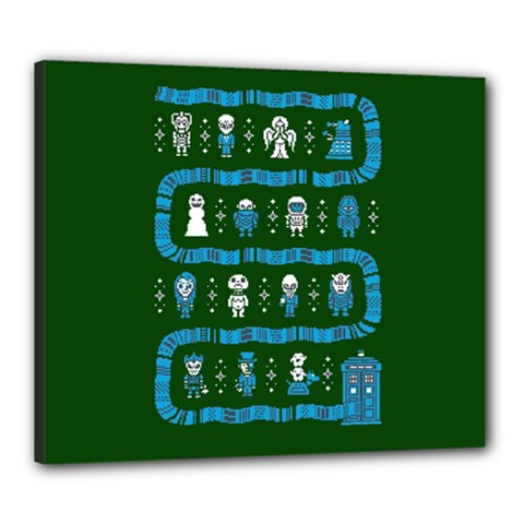 Who Is Outside Ugly Holiday Christmas Green Background Canvas 24  X 20