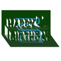 Who Is Outside Ugly Holiday Christmas Green Background Happy Birthday 3d Greeting Card (8x4)