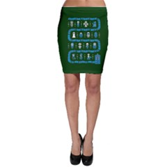 Who Is Outside Ugly Holiday Christmas Green Background Bodycon Skirt