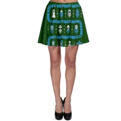 Who Is Outside Ugly Holiday Christmas Green Background Skater Skirt