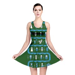 Who Is Outside Ugly Holiday Christmas Green Background Reversible Skater Dress