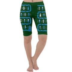 Who Is Outside Ugly Holiday Christmas Green Background Cropped Leggings