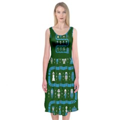 Who Is Outside Ugly Holiday Christmas Green Background Midi Sleeveless Dress