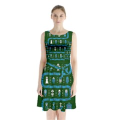 Who Is Outside Ugly Holiday Christmas Green Background Sleeveless Chiffon Waist Tie Dress