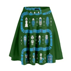 Who Is Outside Ugly Holiday Christmas Green Background High Waist Skirt