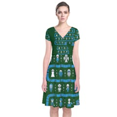 Who Is Outside Ugly Holiday Christmas Green Background Short Sleeve Front Wrap Dress