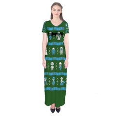 Who Is Outside Ugly Holiday Christmas Green Background Short Sleeve Maxi Dress
