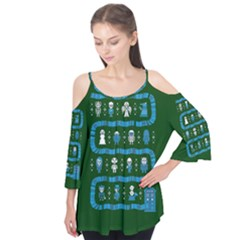 Who Is Outside Ugly Holiday Christmas Green Background Flutter Tees