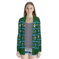 Who Is Outside Ugly Holiday Christmas Green Background Drape Collar Cardigan
