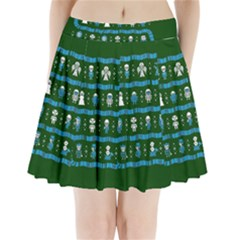 Who Is Outside Ugly Holiday Christmas Green Background Pleated Mini Skirt