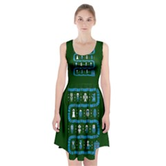 Who Is Outside Ugly Holiday Christmas Green Background Racerback Midi Dress