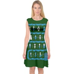 Who Is Outside Ugly Holiday Christmas Green Background Capsleeve Midi Dress
