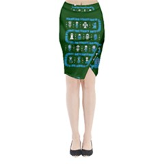 Who Is Outside Ugly Holiday Christmas Green Background Midi Wrap Pencil Skirt