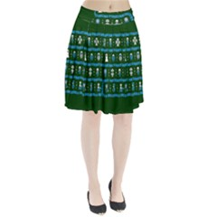 Who Is Outside Ugly Holiday Christmas Green Background Pleated Skirt