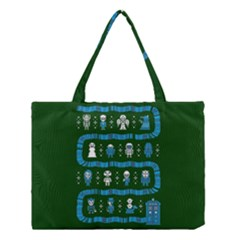 Who Is Outside Ugly Holiday Christmas Green Background Medium Tote Bag