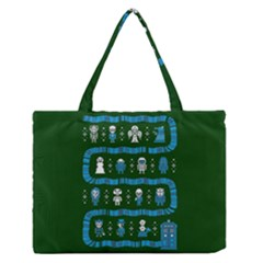 Who Is Outside Ugly Holiday Christmas Green Background Medium Zipper Tote Bag