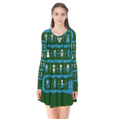 Who Is Outside Ugly Holiday Christmas Green Background Flare Dress
