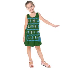 Who Is Outside Ugly Holiday Christmas Green Background Kids  Sleeveless Dress