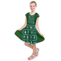 Who Is Outside Ugly Holiday Christmas Green Background Kids  Short Sleeve Dress