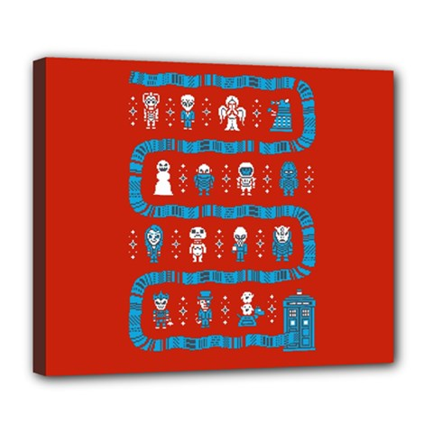 Who Is Outside Ugly Holiday Christmas Red Background Deluxe Canvas 24  X 20