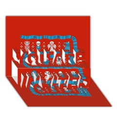 Who Is Outside Ugly Holiday Christmas Red Background You Are Invited 3d Greeting Card (7x5)