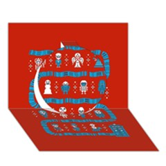 Who Is Outside Ugly Holiday Christmas Red Background Circle 3d Greeting Card (7x5)