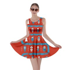 Who Is Outside Ugly Holiday Christmas Red Background Skater Dress
