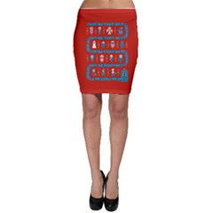 Who Is Outside Ugly Holiday Christmas Red Background Bodycon Skirt