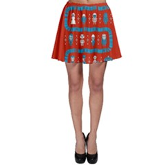 Who Is Outside Ugly Holiday Christmas Red Background Skater Skirt