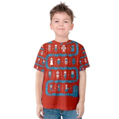 Who Is Outside Ugly Holiday Christmas Red Background Kids  Cotton Tee