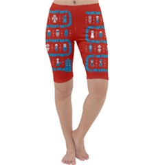 Who Is Outside Ugly Holiday Christmas Red Background Cropped Leggings