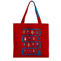 Who Is Outside Ugly Holiday Christmas Red Background Zipper Grocery Tote Bag