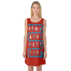 Who Is Outside Ugly Holiday Christmas Red Background Sleeveless Satin Nightdress