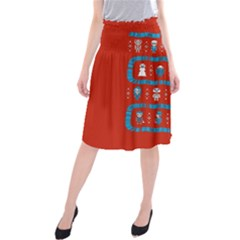 Who Is Outside Ugly Holiday Christmas Red Background Midi Beach Skirt