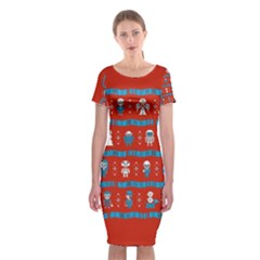 Who Is Outside Ugly Holiday Christmas Red Background Classic Short Sleeve Midi Dress