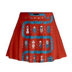 Who Is Outside Ugly Holiday Christmas Red Background Mini Flare Skirt