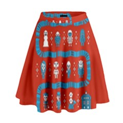 Who Is Outside Ugly Holiday Christmas Red Background High Waist Skirt