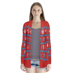 Who Is Outside Ugly Holiday Christmas Red Background Drape Collar Cardigan