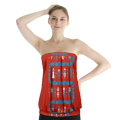 Who Is Outside Ugly Holiday Christmas Red Background Strapless Top