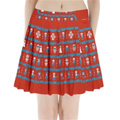 Who Is Outside Ugly Holiday Christmas Red Background Pleated Mini Skirt